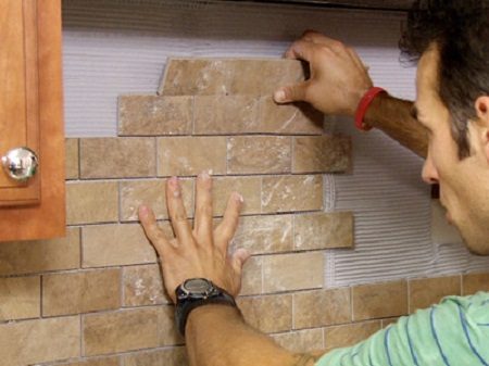 installing a backsplash that looks like brick home sweet