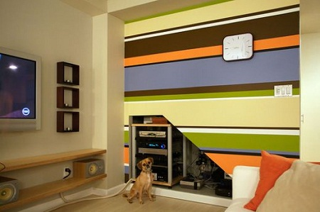 Combination of wall color with the color of the cabinets