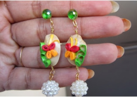 pistachio shell earrings